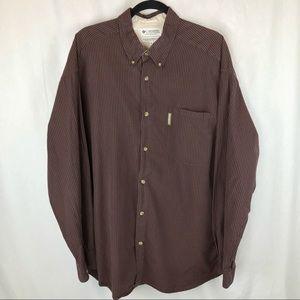 Columbia Maroon Plaid Button Down Shirt, XXL